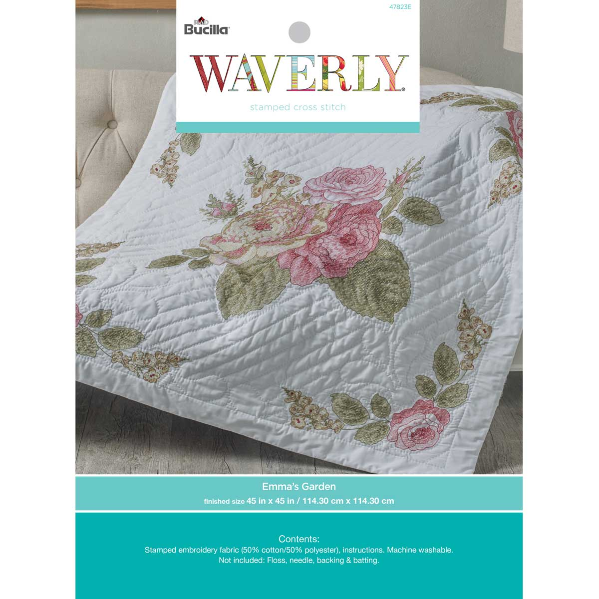 Bucilla ® Waverly ® Emma's Garden Collection Stamped Lap Quilt - 47823