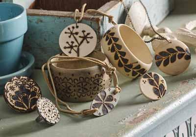 Wood Burned Jewelry Set