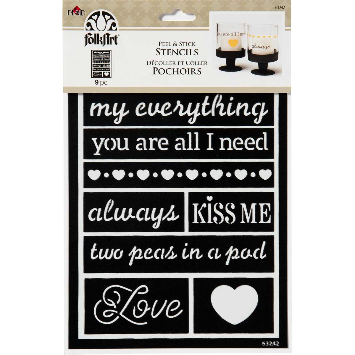 FolkArt ® Peel & Stick Painting Stencils - Loving Words
