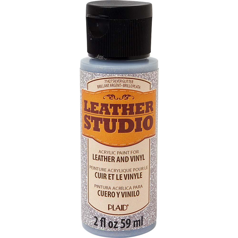 Leather Studio™ Leather & Vinyl Paint Colors - Glitter Silver, 2 oz.