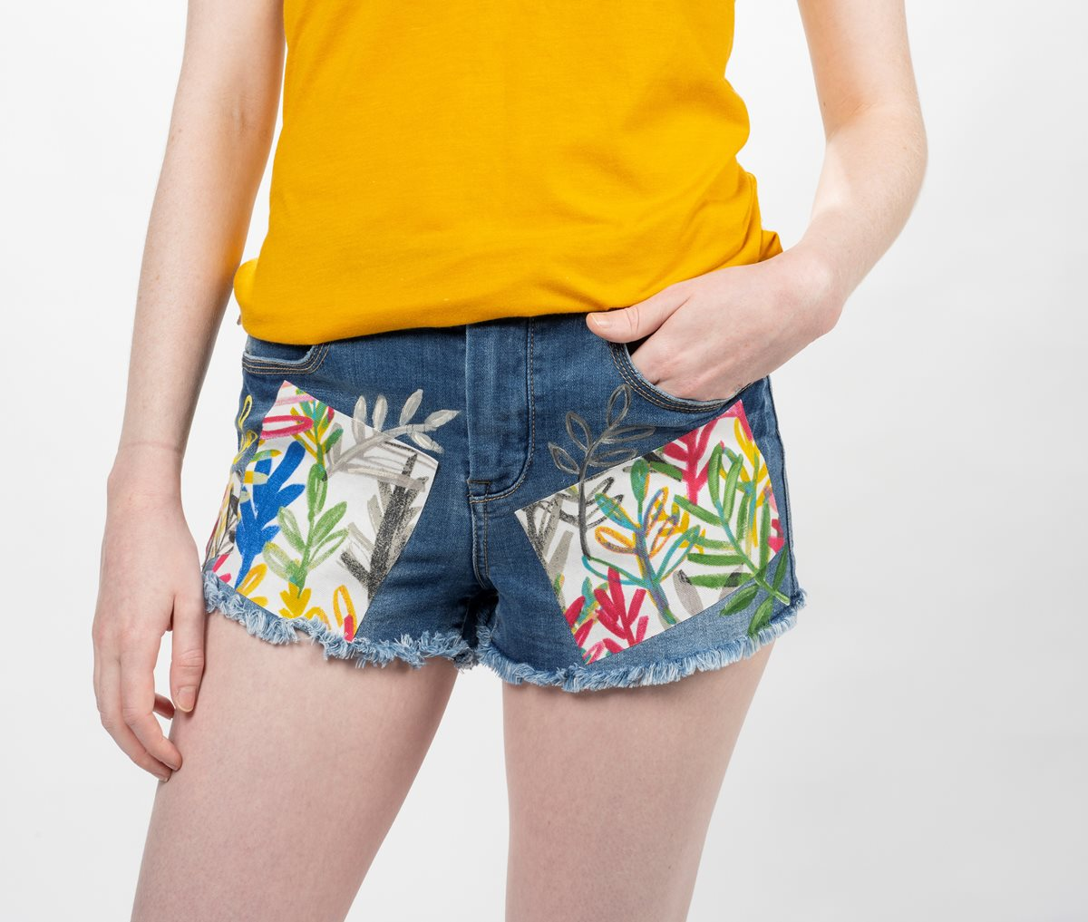 Denim Shorts with Tropical Fabric