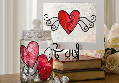 Shimmer Valentine Glass Art
