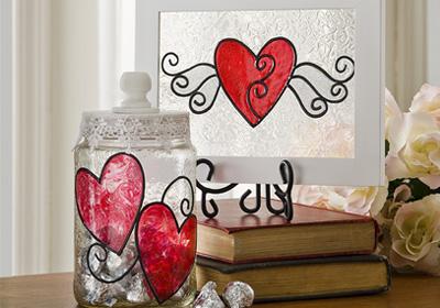 Shimmer Valentine Glass Art