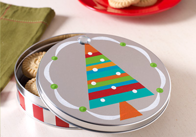 Brightly Striped Cookie Tin