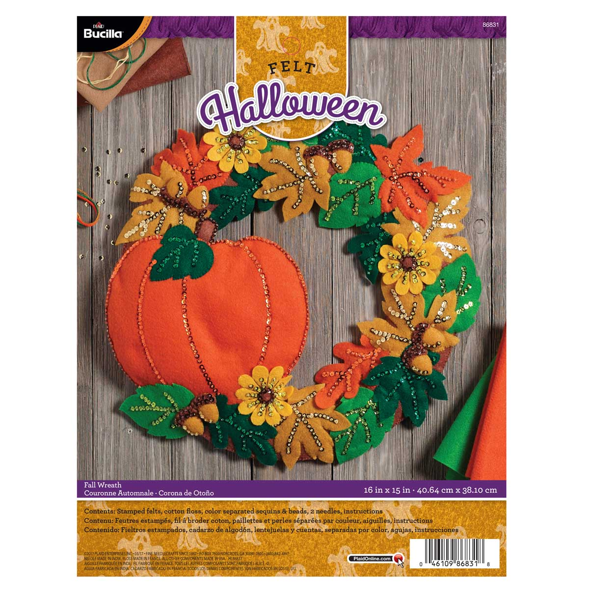Bucilla ® Seasonal - Felt - Home Decor - Fall Wreath - 86831