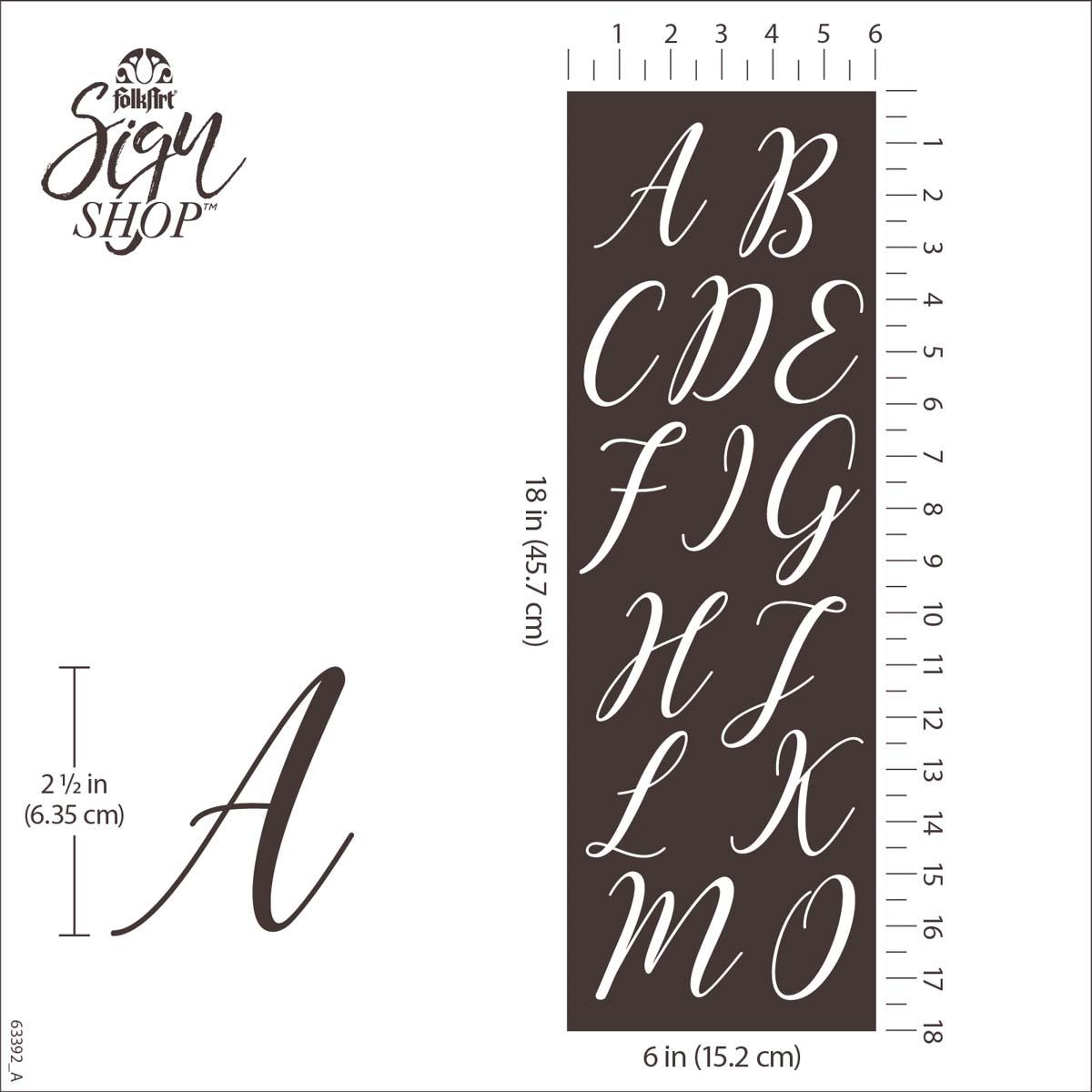 FolkArt ® Sign Shop™ Mesh Stencil - Script Letters, 2 pc. - 63392