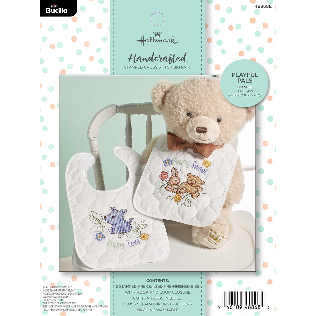 Bucilla ® Baby - Stamped Cross Stitch - Crib Ensembles - Hallmark - Playful Pals - Bib Pair Kit - 48