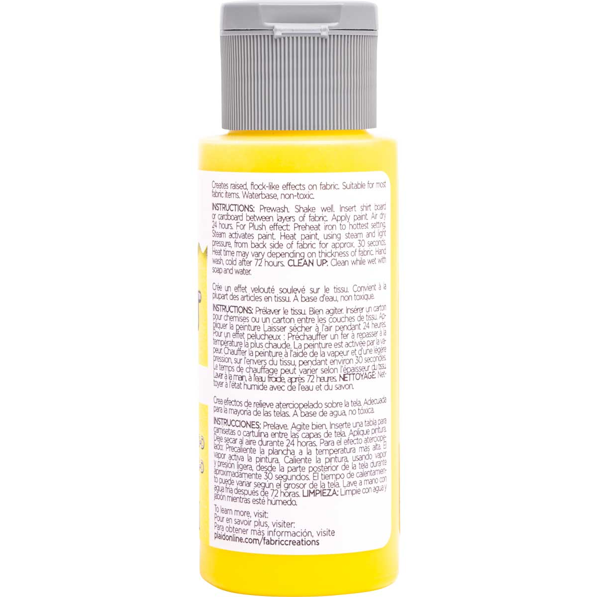 Fabric Creations™ Plush™ 3-D Fabric Paints - Lemonade, 2 oz. - 26330