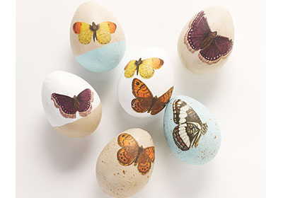 Decoupaged Butterfly Eggs