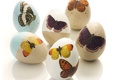 Decoupaged Butterfly Eggs