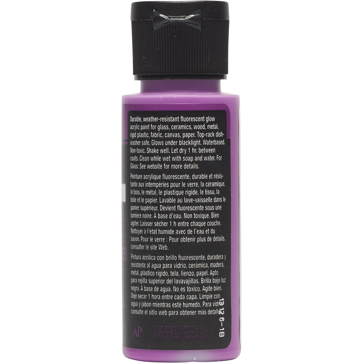 FolkArt ® Multi-Surface Neon Glow Acrylic Paints - Purple, 2 oz. - 2977