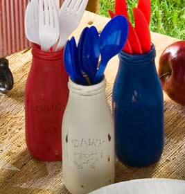 4th of July Tablescape Milk Bottles