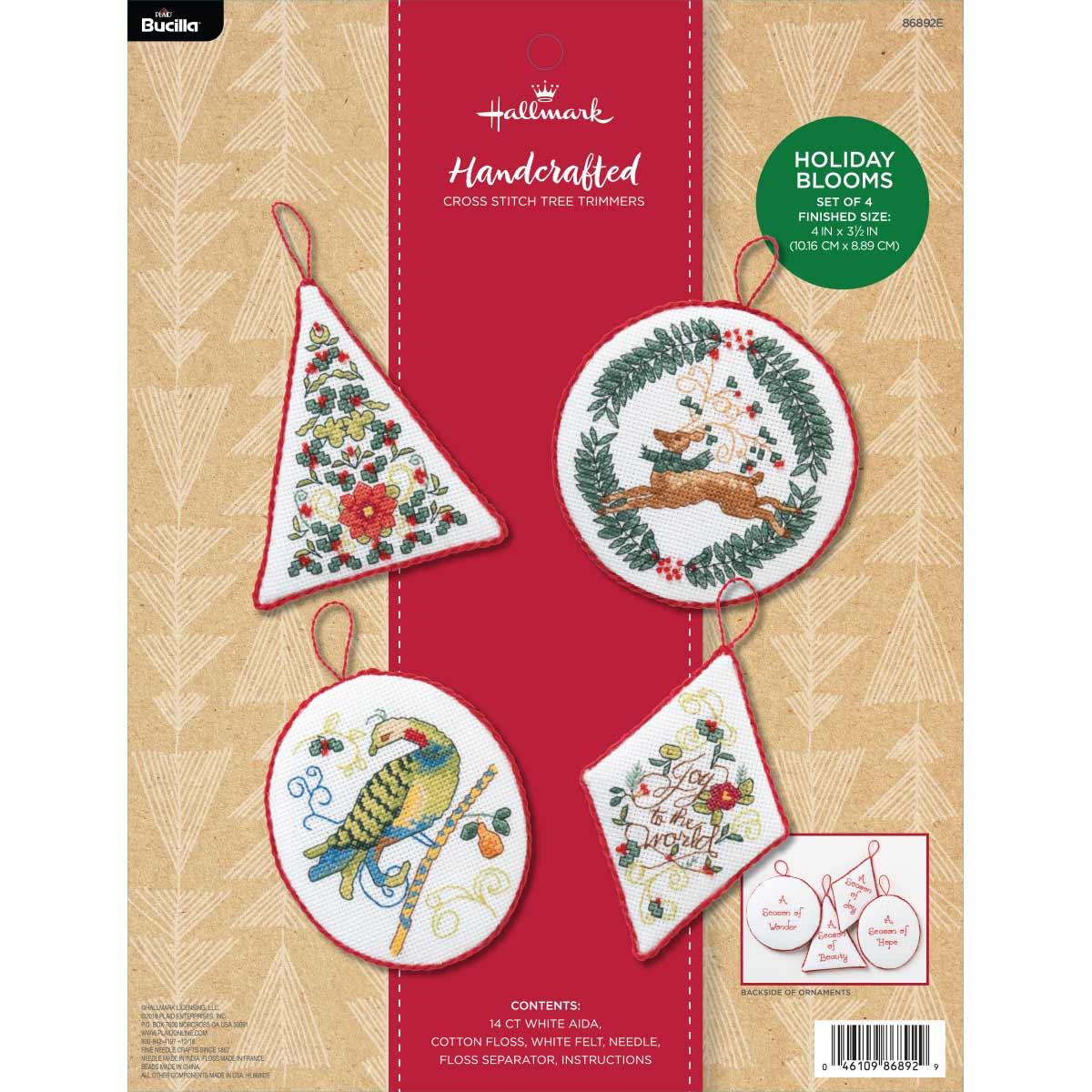 Bucilla ® Seasonal - Counted Cross Stitch - Tree Trimmer Kits - Hallmark - Holiday Blooms - 86892E