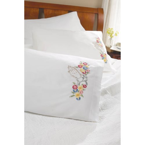 Bucilla ® Stamped Cross Stitch & Embroidery - Pillowcase Pairs - Praying Hands