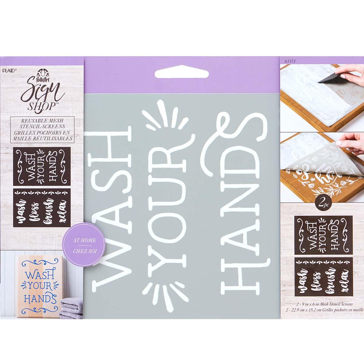 FolkArt ® Sign Shop™ Mesh Stencil - Wash Hands, 2 pc. - 63371