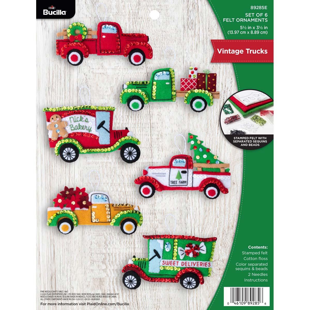 Bucilla ® Seasonal - Felt - Ornament Kits - Vintage Trucks - 89285E
