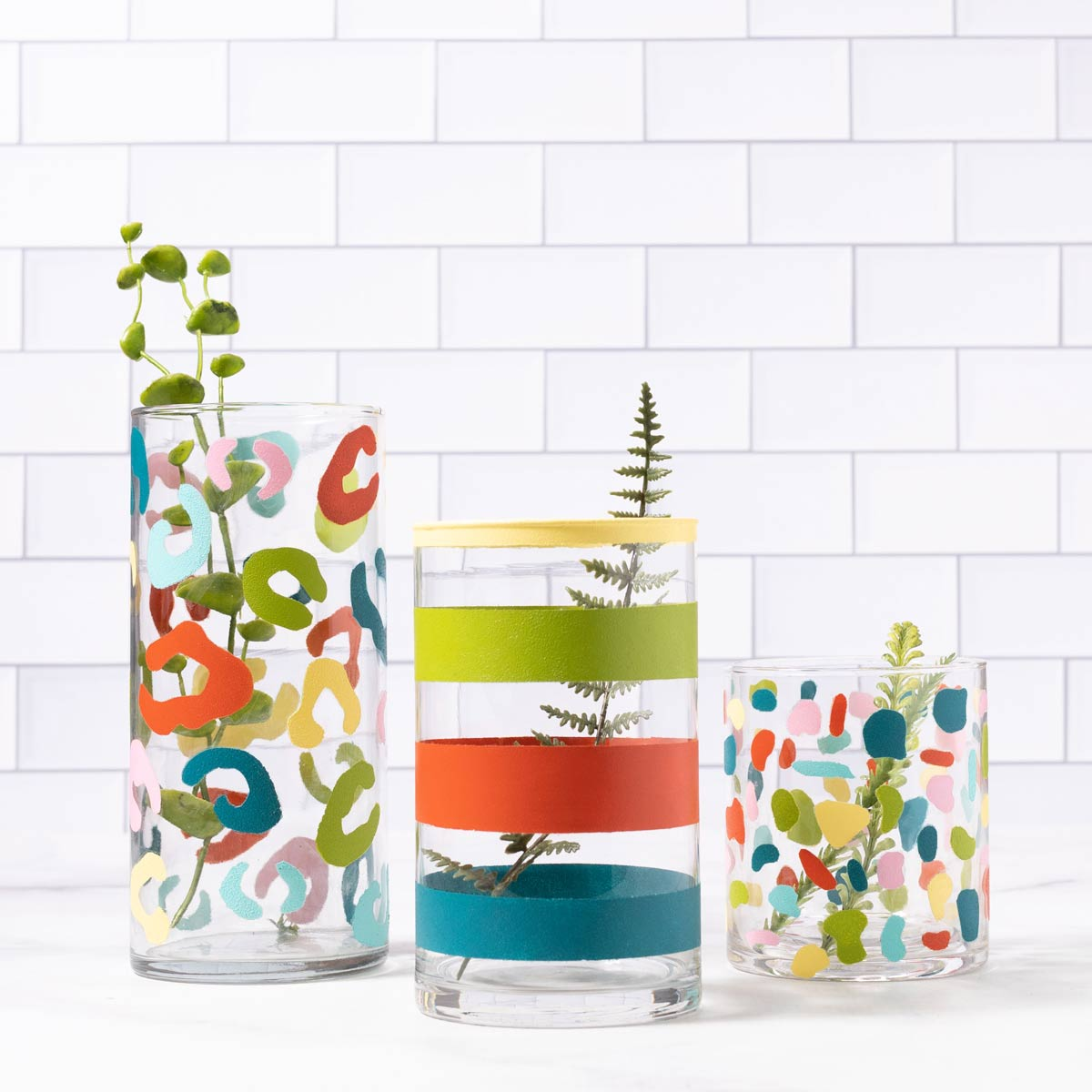 DIY Painted Vase Trio: Striped, Leopard Print, Terrazzo