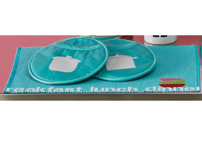 Handmade Charlotte Stenciled Pot Holders and Placemat