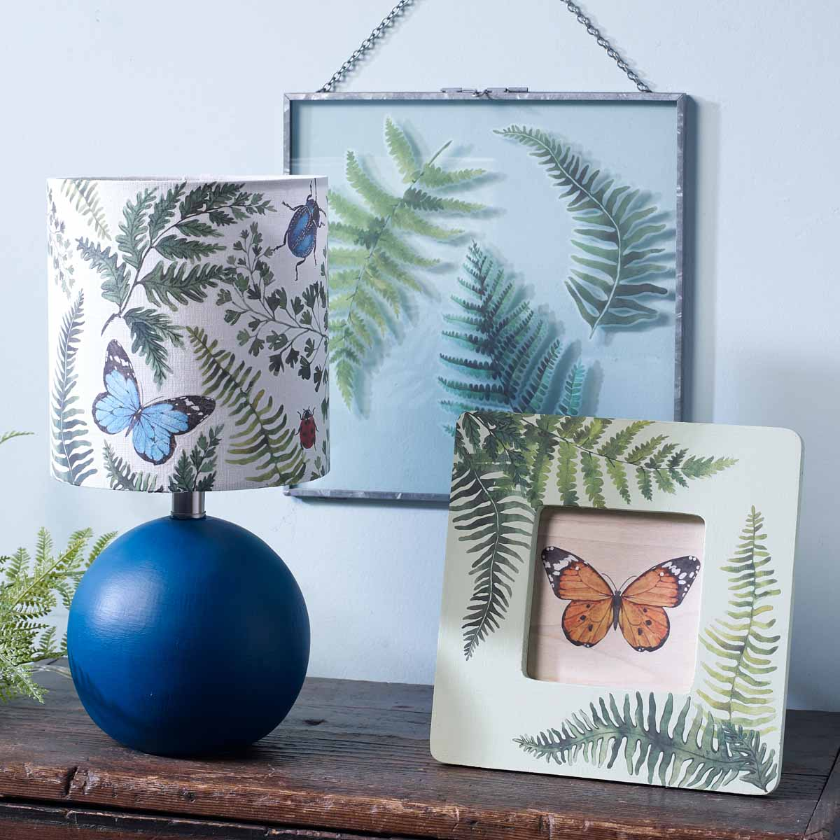Rub-on Transfer Lamp, Frame, and Glass Wall Hanging