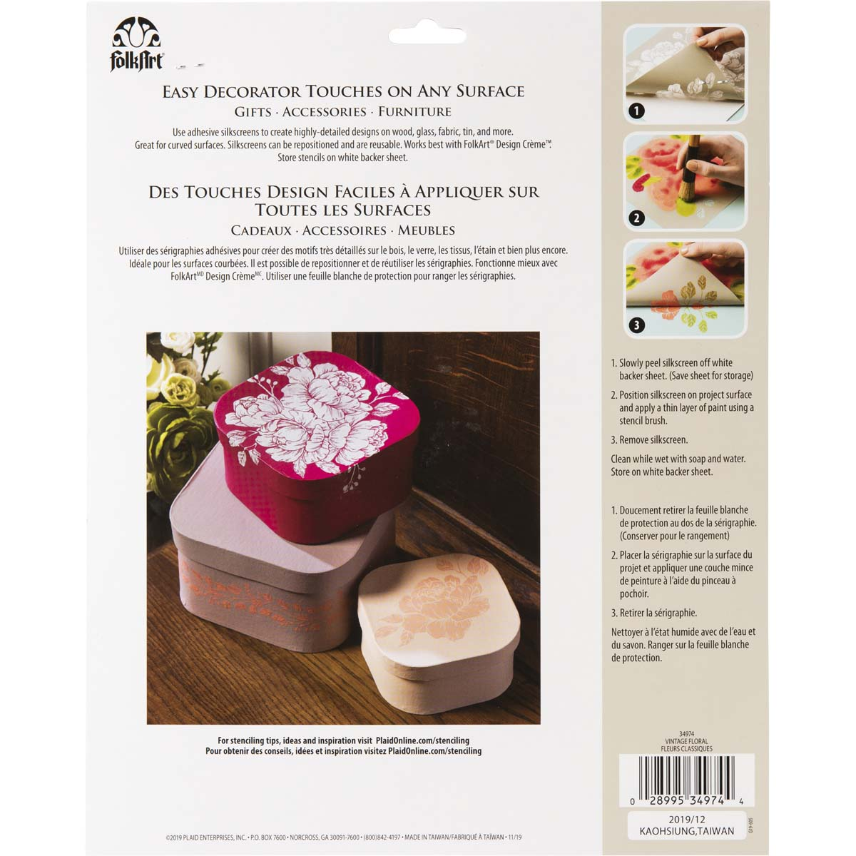 FolkArt ® Adhesive Silkscreen - Vintage Floral - 34974
