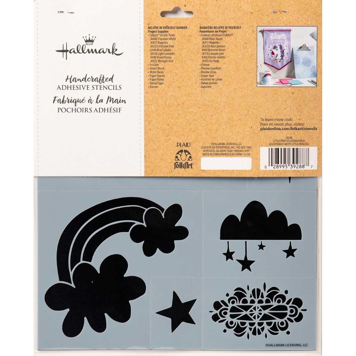 Hallmark Handcrafted Adhesive Stencils - Little Princess Design Pack, 8-1/2
