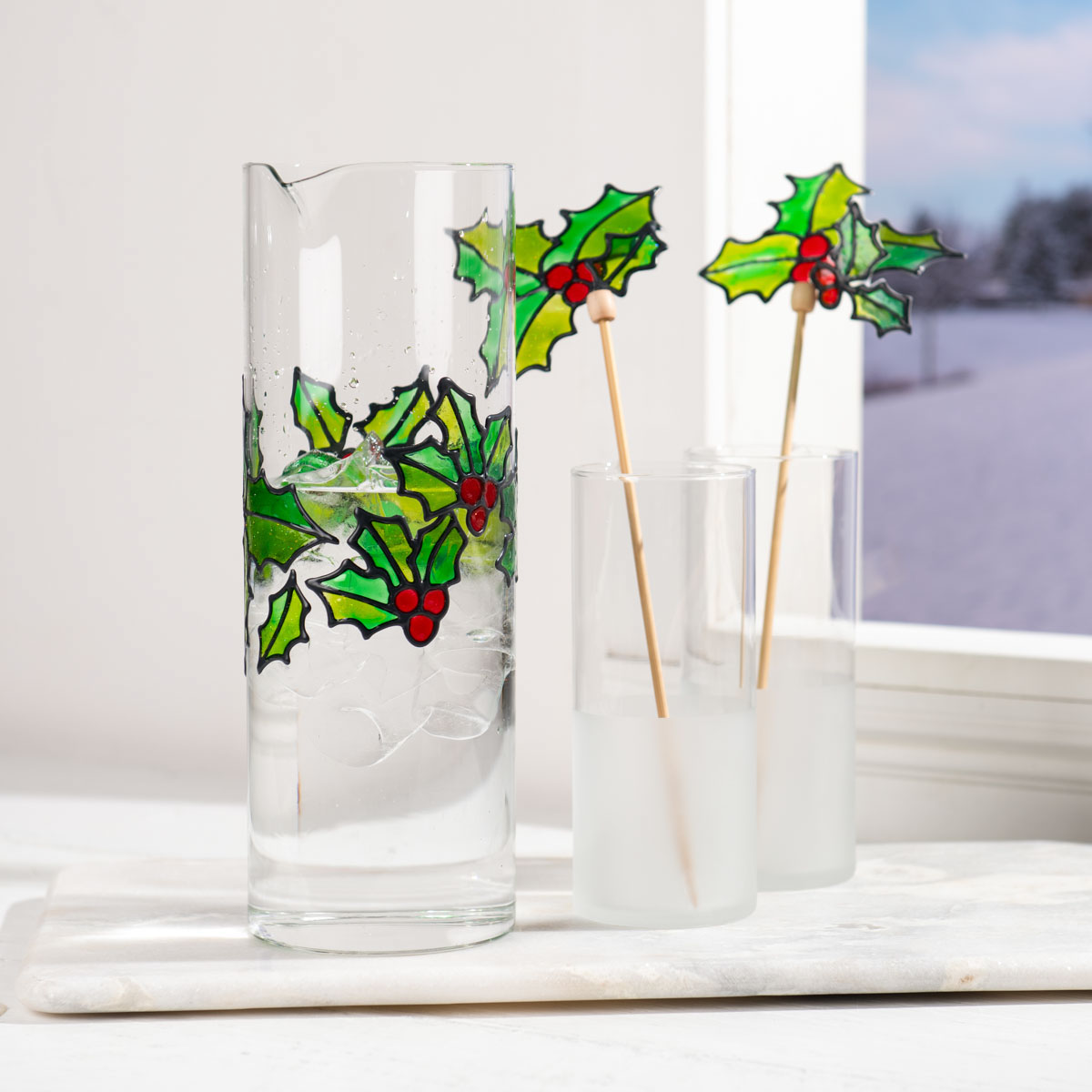 Christmas Holly Drink Set