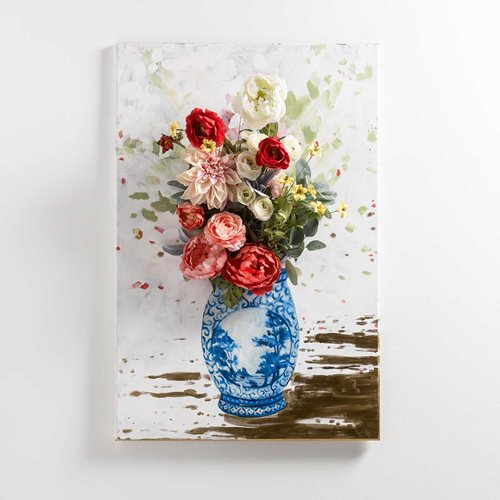 Floral Elegance – Blue and White China Vase with Floral Stems on Canvas