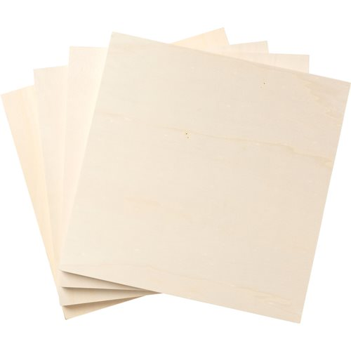 "Plaid ® Wood Surfaces - Plywood Panel Bundle, 4 pieces, 12"" x 12"" - 96384"