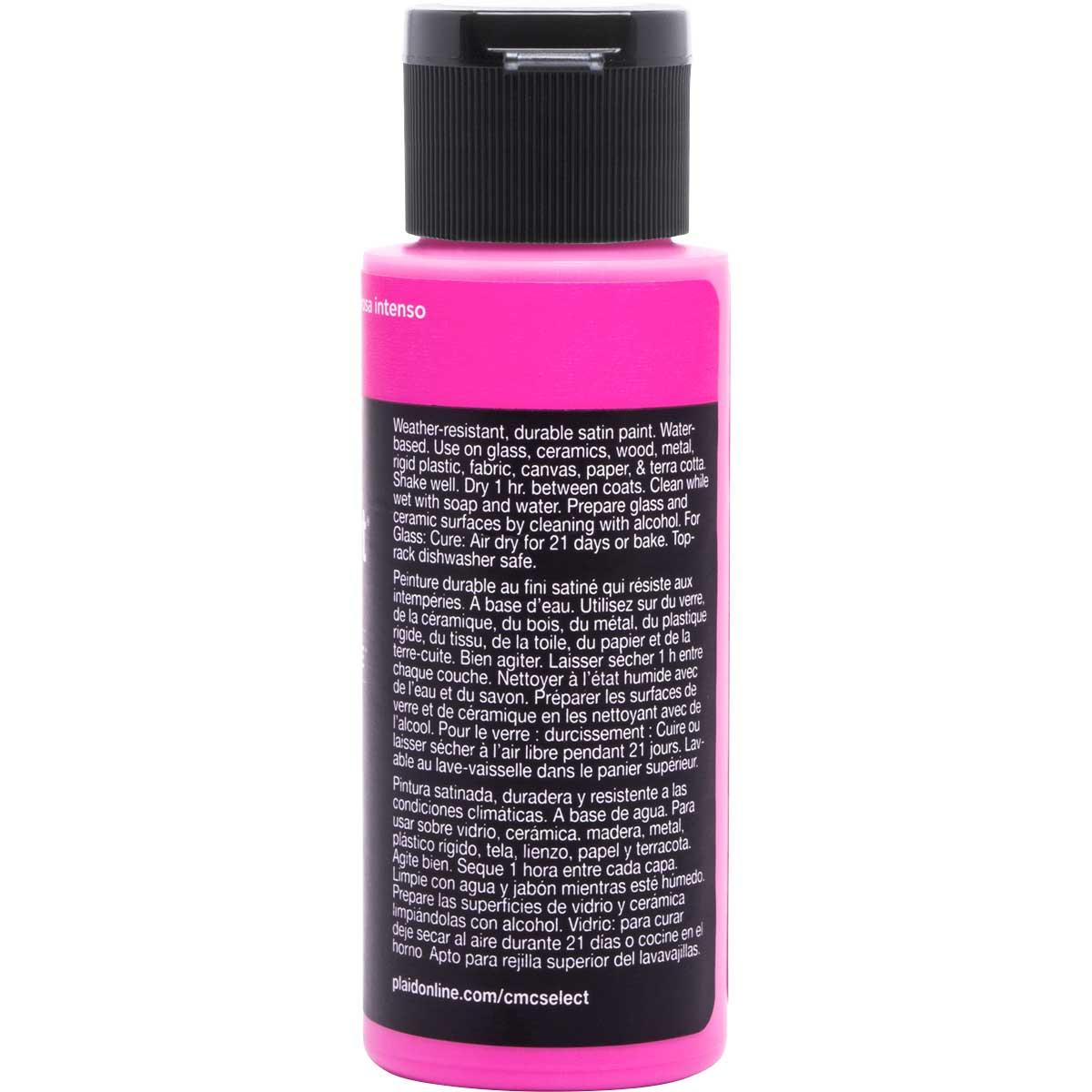 Delta Ceramcoat ® Select Multi-Surface Acrylic Paint - Satin - Shocking Pink, 2 oz.