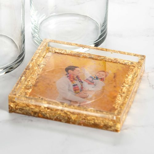 Gold Resin Photo Coaster
