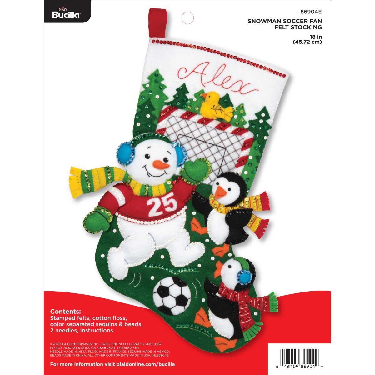 Bucilla ® Seasonal - Felt - Stocking Kits - Snowman Soccer Fan