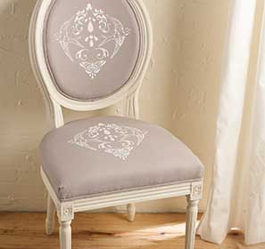 Nature Damask Stenciled Chair