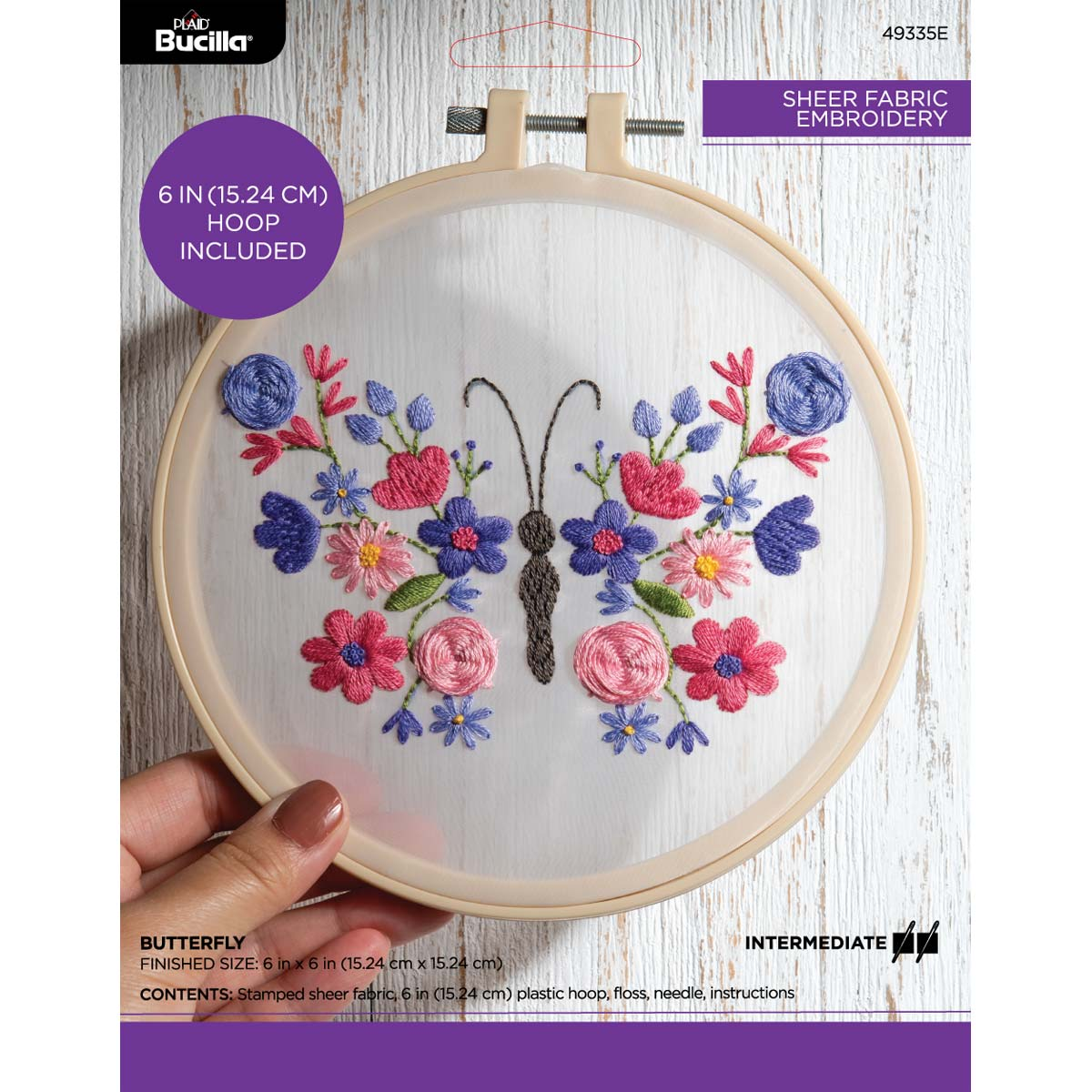 Bucilla ® Stamped Sheer Fabric Embroidery - Butterfly - 49335E
