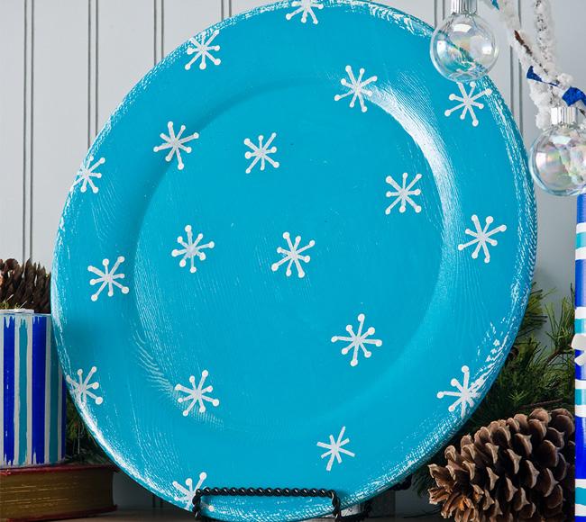 Turquoise Christmas Snowflake Plate