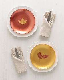 Easy Stencil Project - Chargers for Harvest Celebration