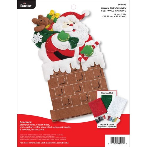 Bucilla ® Seasonal - Felt - Home Decor - Down The Chimney Wall Hanging - 86949E