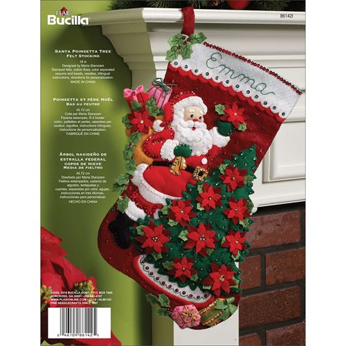 Bucilla ® Seasonal - Felt - Stocking Kits - Santa Poinsettia