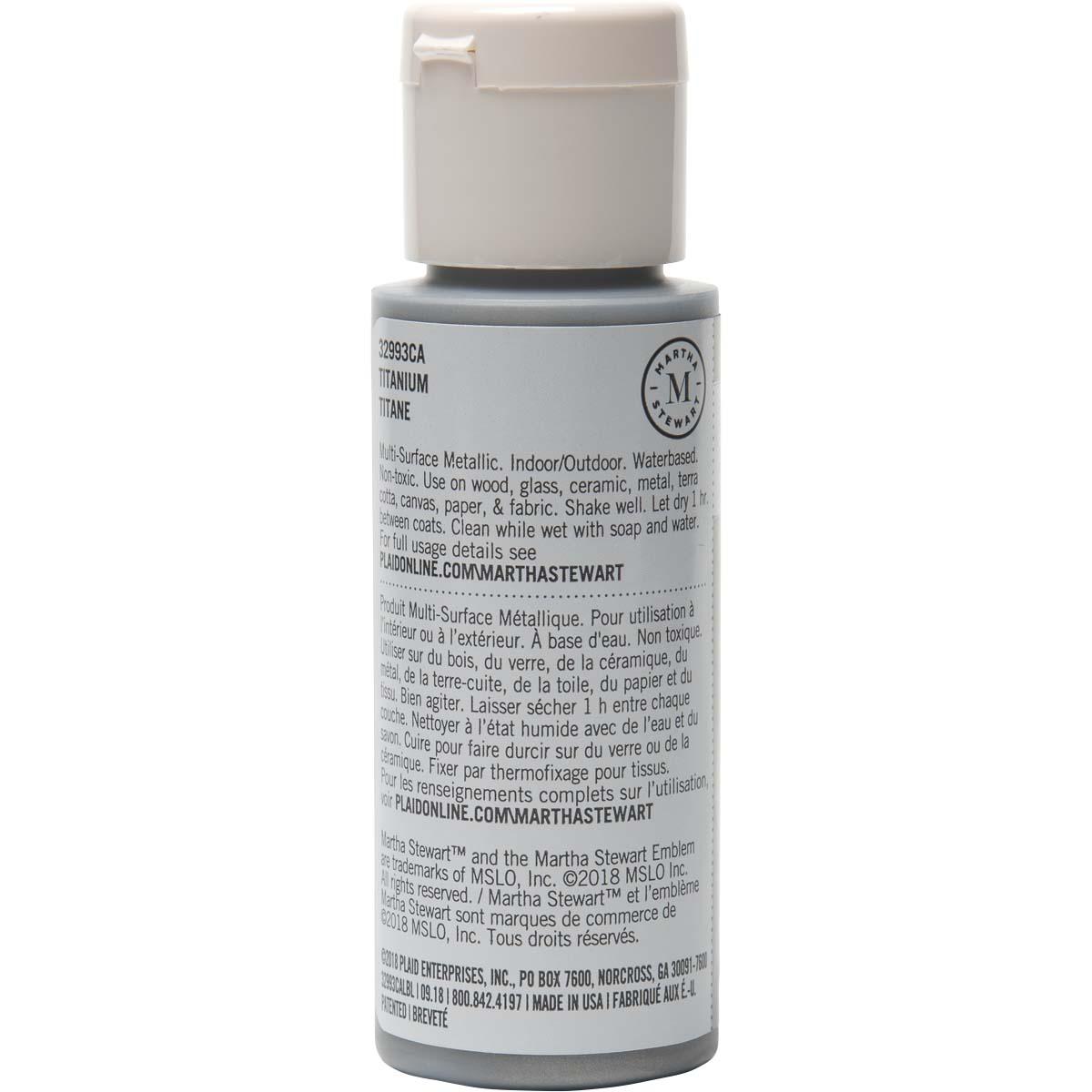 Martha Stewart ® Multi-Surface Metallic Acrylic Craft Paint - Titanium, 2 oz. - 32993CA