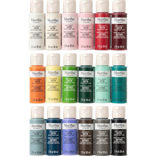 Martha Stewart ® Multi-Surface Satin Acrylic Craft Paint 18-Color Best of Paint Set - MSORIGSTN18A