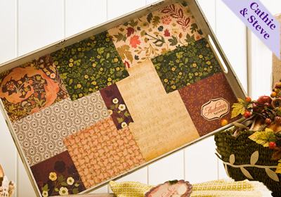 Thanksgiving Party Tray with a Calico Paper Quilt