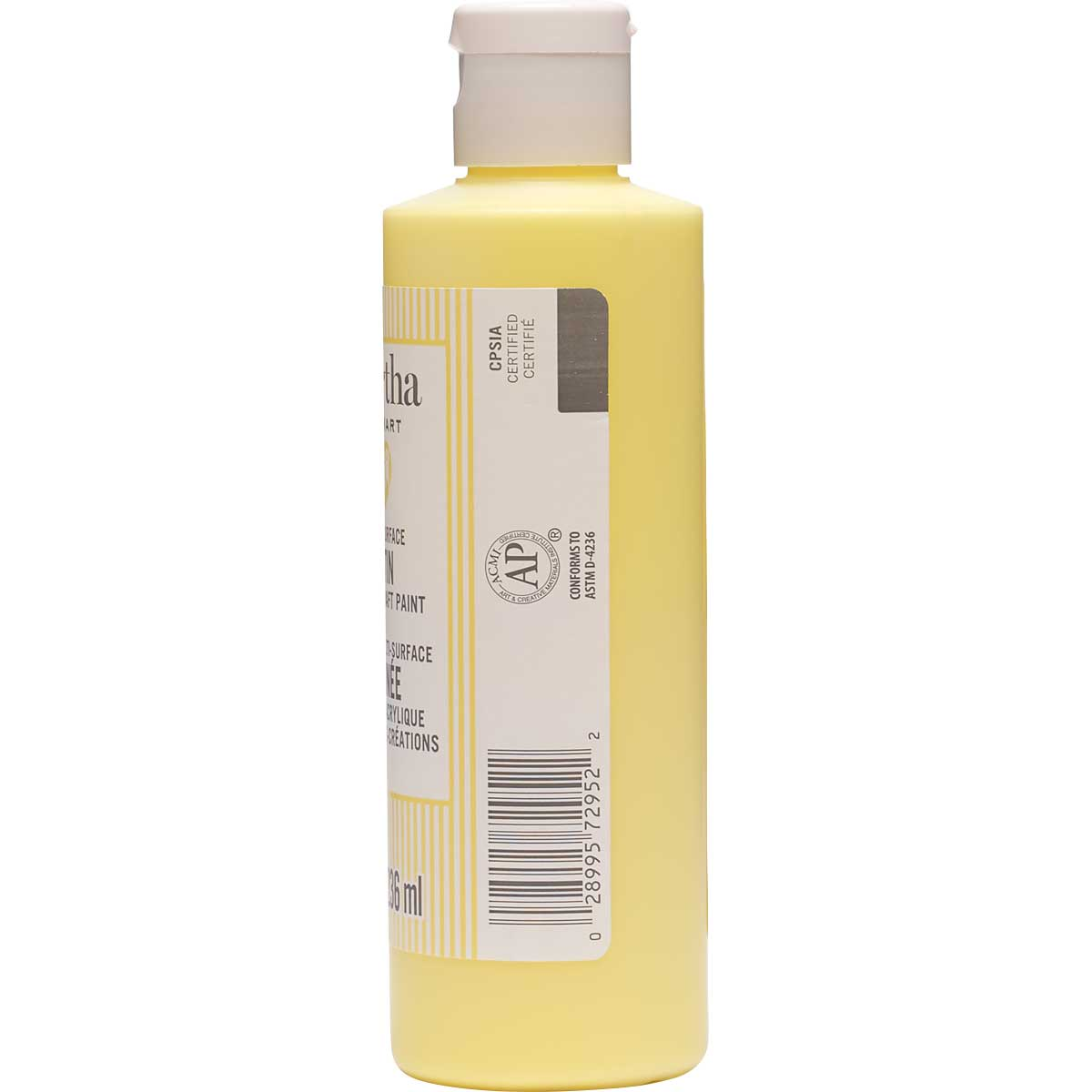 Martha Stewart ® Multi-Surface Satin Acrylic Craft Paint CPSIA - Sunshine Yellow, 8 oz. - 72952