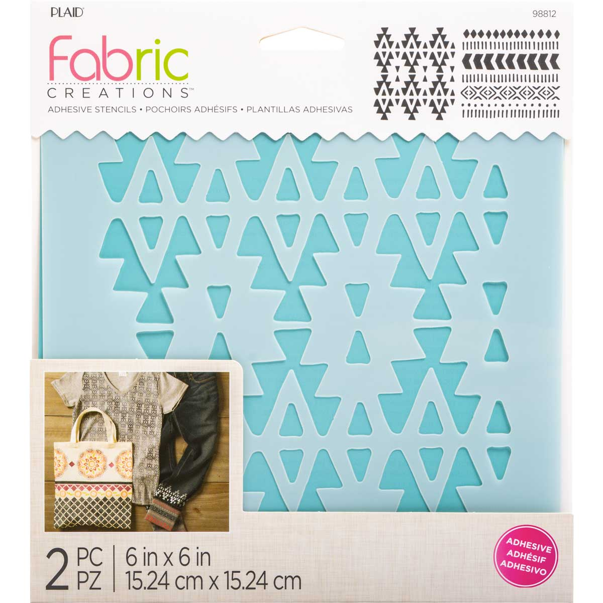 Fabric Creations™ Adhesive Stencils - Aztec, 6