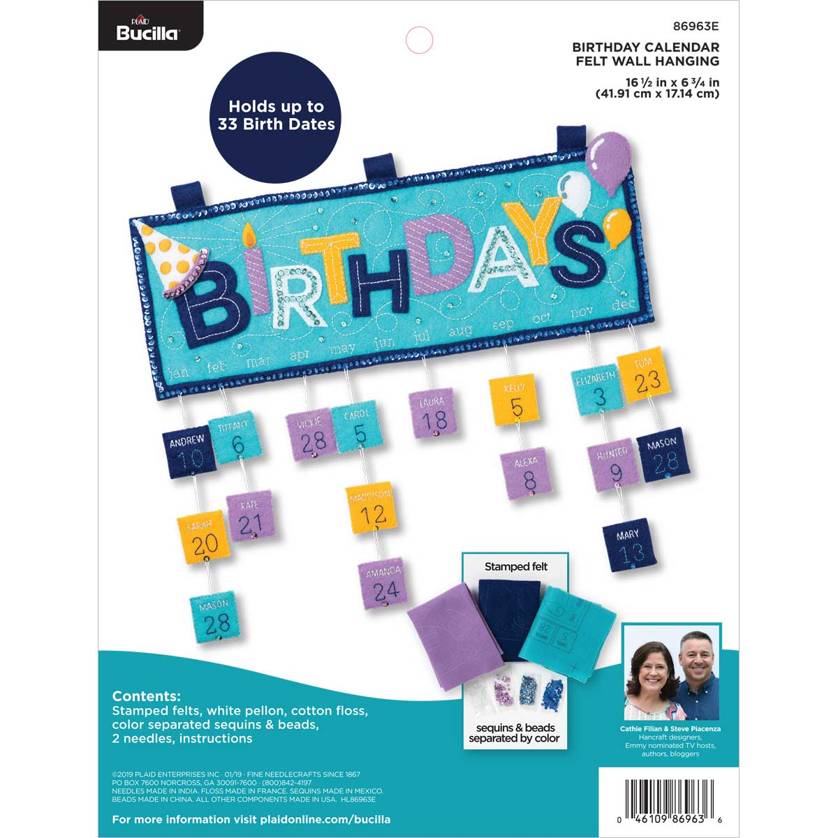 Bucilla ® Felt - Home Decor - Everyday Birthday Calendar Wall Hanging