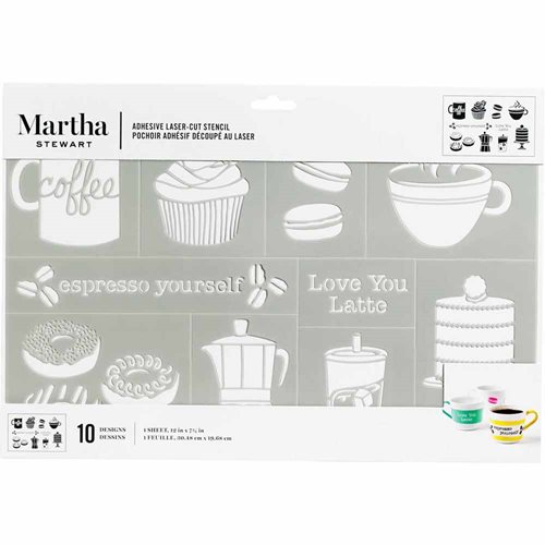 Martha Stewart ® Adhesive Stencil - Coffe and Treats - 5970
