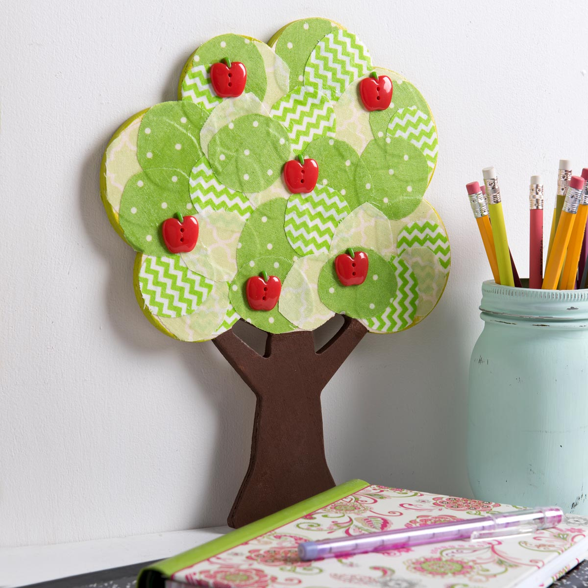 Kids Fabric Collage Apple Tree