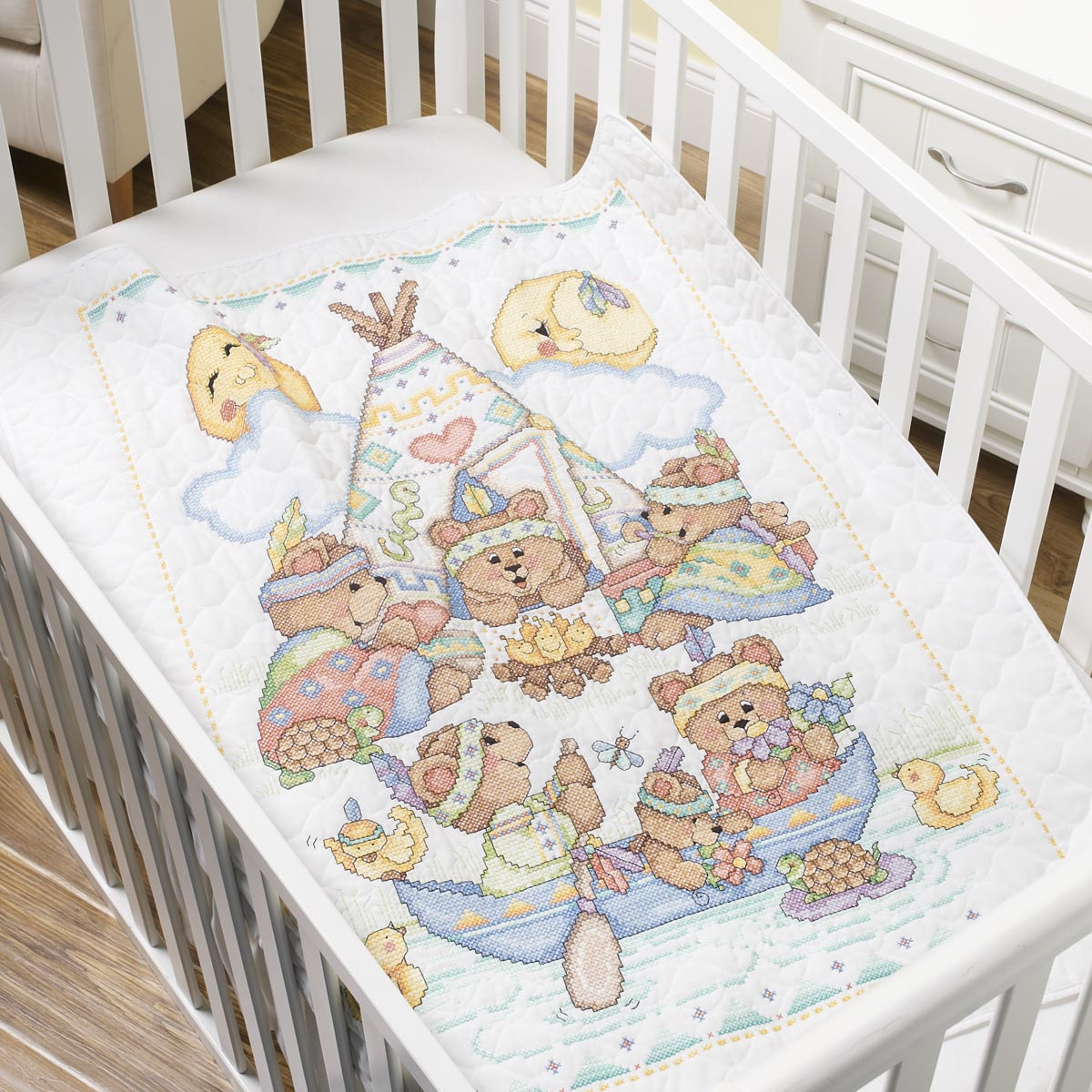 Bucilla Baby - Stamped Cross Stitch - Tee Pee Bears Crib Cover Kit