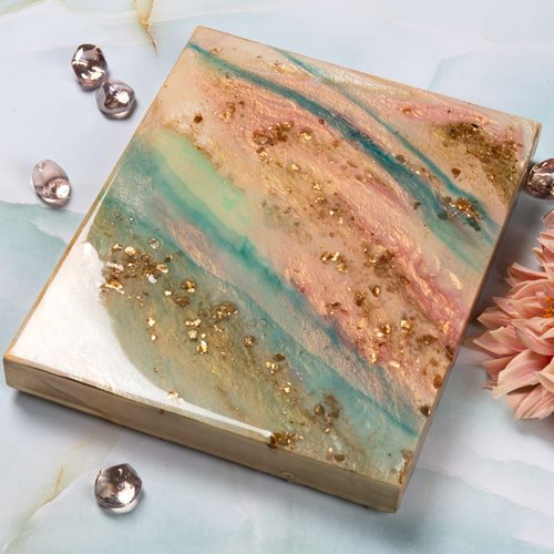 Coral, Aqua and Gold Poured Resin Canvas