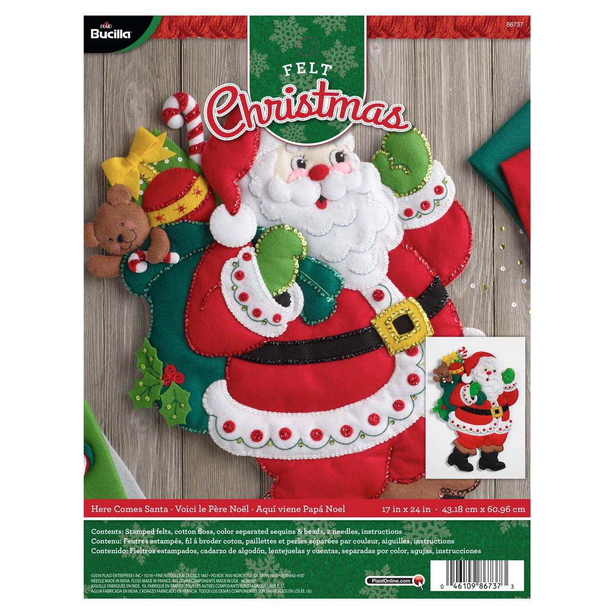 Bucilla ® Seasonal - Felt - Home Decor - Here Comes Santa Wall Hanging - 86737