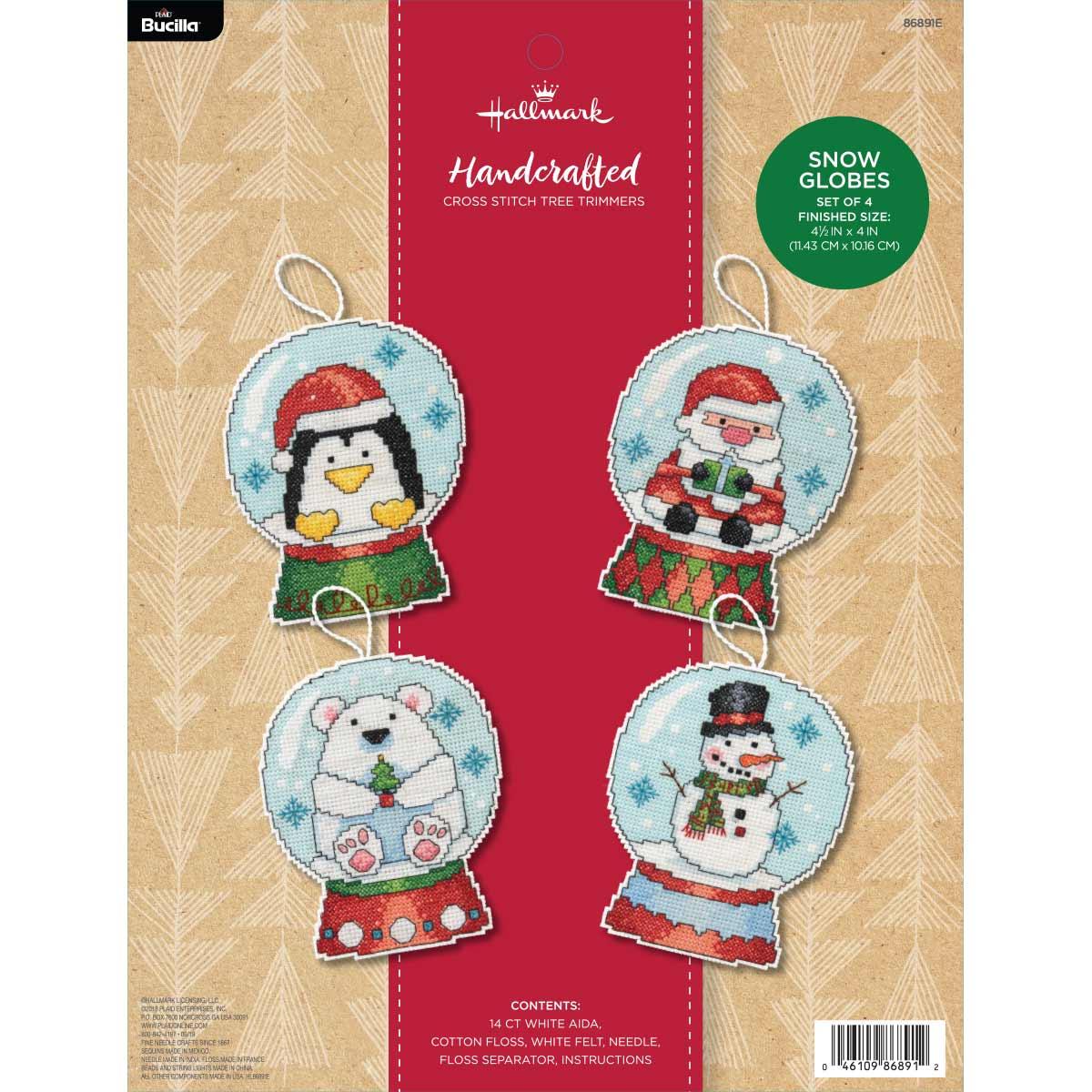 Bucilla ® Seasonal - Counted Cross Stitch - Tree Trimmer Kits - Hallmark - Snow Globes