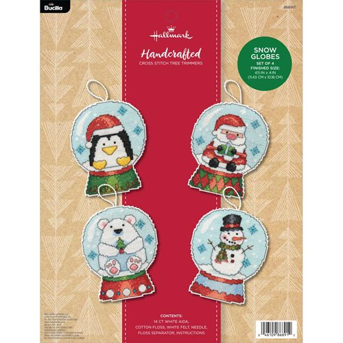 Bucilla ® Seasonal - Counted Cross Stitch - Tree Trimmer Kits - Hallmark - Snow Globes